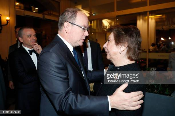 Prince Albert II De Monaco and Francoise Dumas attend the Fondation Prince Albert II De Monaco Evening at Salle Gaveau on February 21 2019 in Paris...