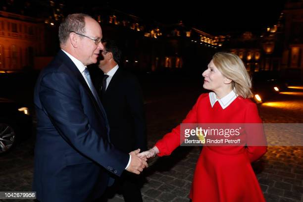 Prince Albert II de Monaco and President of Castle of Versailles Catherine Pegard attend the Ryder Cup Dinner at Chateau de Versailles on September...