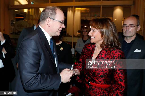 Prince Albert II De Monaco and Segolene Royal attend the Fondation Prince Albert II De Monaco Evening at Salle Gaveau on February 21 2019 in Paris...