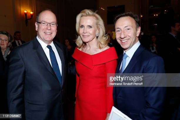 Prince Albert II De Monaco Melissa Bouygues and Stephane Bern attend the Fondation Prince Albert II De Monaco Evening at Salle Gaveau on February 21...