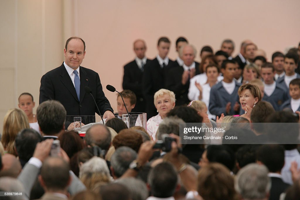 HRH Prince Albert II makes a speech after receiving the keys to the principality of Monaco, following his coronation mass held in the morning.