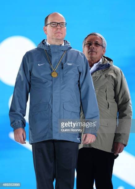 Prince Albert II of Moanco looks on while preseting the medals for Team Luge Relay on day 7 of the Sochi 2014 Winter Olympics at Medals Plaza on...