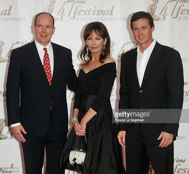 Prince Albert II of Monaco actors Lesley Anne Down and Eric Close attend the opening night of the 2007 Monte Carlo Television Festival held at...
