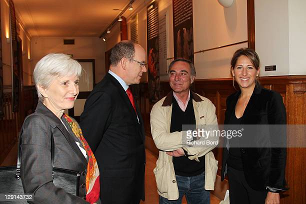 Prince Albert II of Monaco, Alain Bougrain-Dubourg and Maud Fontenoy attend the 'The Deep Seas, Challenges And Opportunities' Conference at Institut...