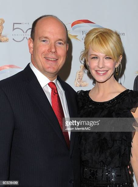 Prince Albert II of Monaco and actress Kathryn Morris attend the Monte Carlo Television Festival cocktail party held at the Beverly Hills Hotel on...