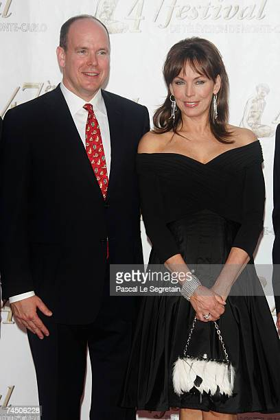 Prince Albert II of Monaco and actress Lesley Anne Down attend the opening night of the 2007 Monte Carlo Television Festival held at Grimaldi Forum...