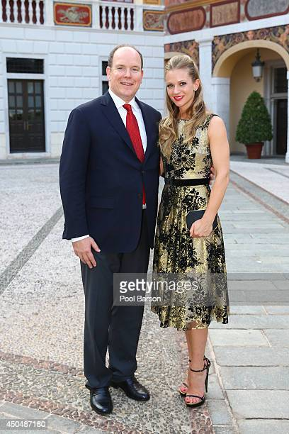 Prince Albert II of Monaco and Andrea Joy Cook aka A.J. Cook attend a Cocktail Reception at Monaco Palace on June 9, 2014 in Monte-Carlo, Monaco.