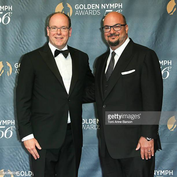 Prince Albert II of Monaco and Anthony Zuiker arrive at the 56th Monte Carlo TV Festival Closing Ceremony and Golden Nymph Awards at The Grimaldi...