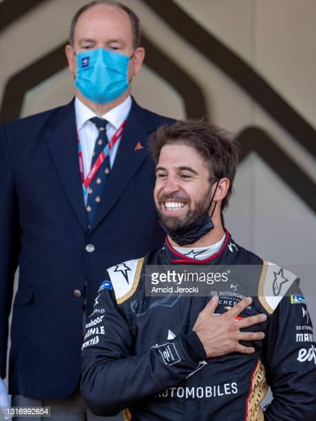 Prince Albert II of Monaco and Antonio Felix da Costa attend the ABB FIA Formula E Monaco E-Prix on May 08, 2021 in Monaco, Monaco.