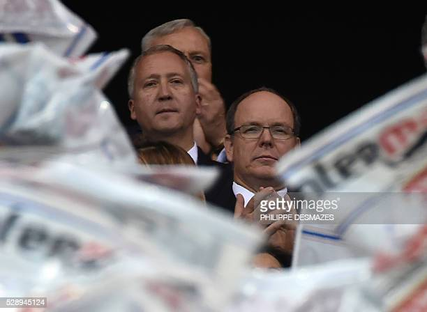 Prince Albert II of Monaco and AS Monaco's Russian president Dmitriy Rybolovlev attend the French L1 football match Olympique Lyonnais and AS Monaco...