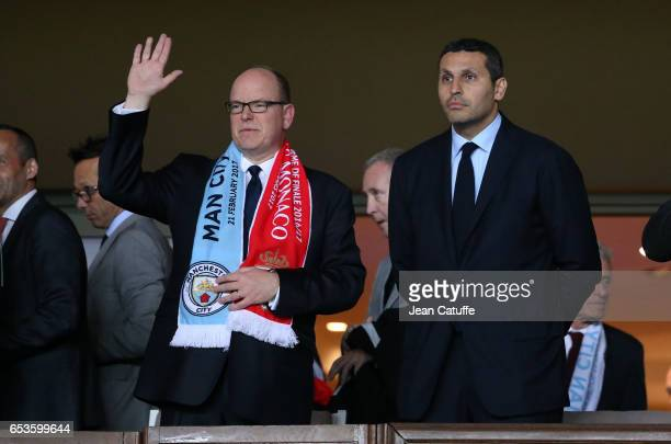 Prince Albert II of Monaco and Chairman of Manchester City Khaldoon Al Mubarak attend the UEFA Champions League Round of 16 second leg match between...