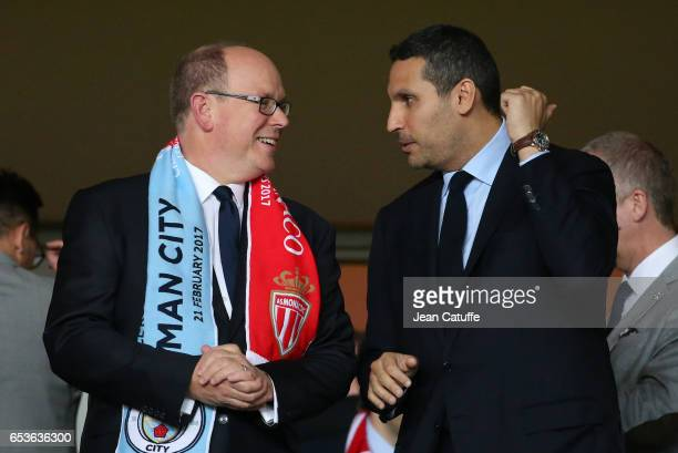 Prince Albert II of Monaco and Chairman of Manchester City Khaldoon Al Mubarak attend the UEFA Champions League Round of 16 second leg match between...