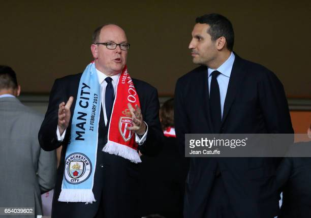 Prince Albert II of Monaco and Chairman of Manchester City Khaldoon Al Mubarak following the UEFA Champions League Round of 16 second leg match...