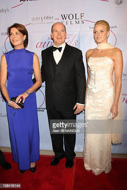 Prince Albert II of Monaco and Charlene Wittstock and Princess Caroline in New York United States on October 25th 2007