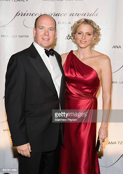 Prince Albert II of Monaco and Charlene Wittstock arrive at the 2008 Princess Grace Awards Gala at Cipriani 42nd Street on October 15 2008 in New...