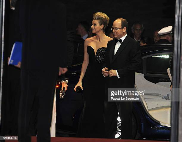 Prince Albert II of Monaco and Charlene Wittstock arrive at the 2009 Monte Carlo Rock' N Rose Ball held at The Sporting Monte Carlo on March 28 2009...