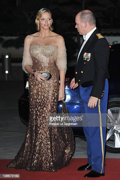Prince Albert II of Monaco and Charlene Wittstock arrive to attend the Monaco National day Gala concert at Grimaldi forum on November 19 2010 in...