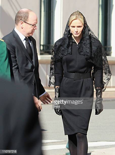 Prince Albert II of Monaco and Charlene Wittstock arrive to attend the funeral of Princess MelanieAntoinette at Cathedrale NotreDameImmaculee de...