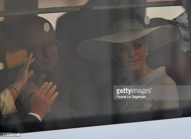 Prince Albert II of Monaco and Charlene Wittstock arrive to attend the Royal Wedding of Prince William to Catherine Middleton at Westminster Abbey on...