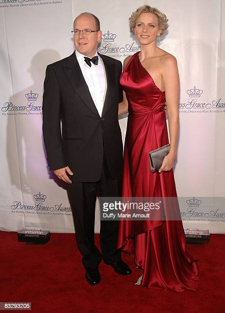 Prince Albert II of Monaco and Charlene Wittstock attend the 2008 Princess Grace awards gala at Cipriani 42nd Street on October 15 2008 in New York...