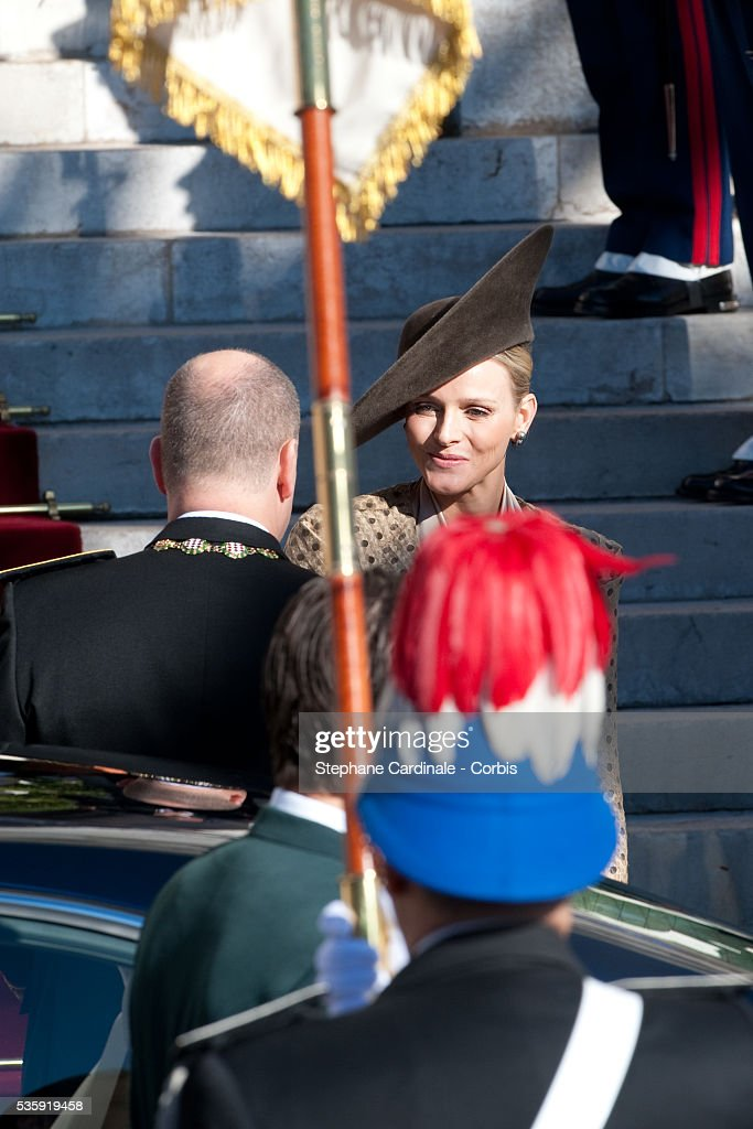 Prince Albert II of Monaco and Charlene Wittstock attend the annual traditional Thanksgiving Mass as part of Monaco National Day celebrations on November 19, 2010 in Monaco