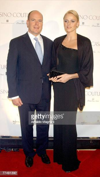 Prince Albert II of Monaco and Charlene Wittstock attend the Consulate General of Monaco and Wynn Resorts' Casino Couture event to benefit The...