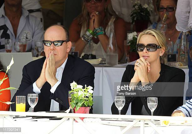 Prince Albert II of Monaco and Charlene Wittstock attend the Global Champion Tour 2011 on June 24 2011 in Monte Carlo Monaco