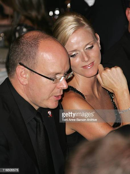 HSH Prince Albert II of Monaco and Charlene Wittstock pose before dinner for the 2007 Annual Fight Aids Monaco Gala in MonteCarlo Monaco