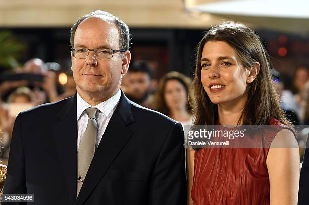 Prince Albert II of Monaco and Charlotte Casiraghi attend Longines Global Champions Tour of Monaco on June 24 2016 in Monaco Monaco
