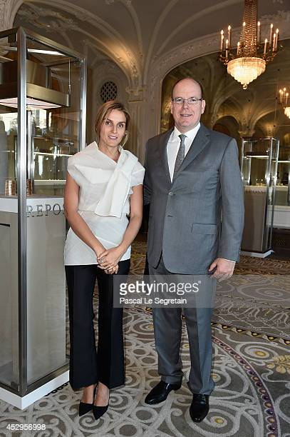 Prince Albert II of Monaco and Creative director of the Italian jewellery brand Repossi Gaia Repossi attend the launch of the 'White noise'...