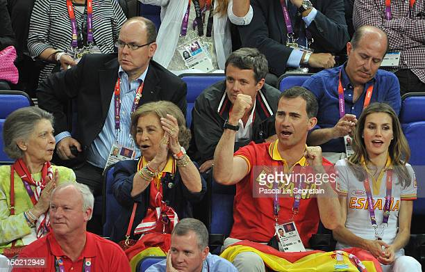 Prince Albert II of Monaco and Crown Prince Frederik of Denmark sit behind Queen Sofia of Spain, Prince Felipe of Spain and Crown Princess Letizia of...