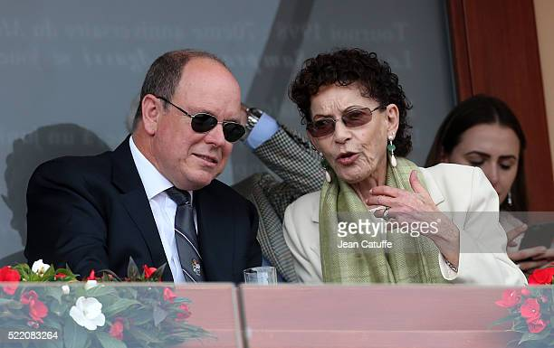 Prince Albert II of Monaco and ElisabethAnne de Massy attend the final of the 2016 MonteCarlo Rolex Masters at MonteCarlo Country Club on April 17...