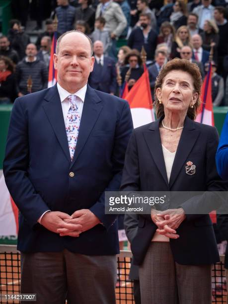 Prince Albert II of Monaco and ElisabethAnne de Massy attend the Rolex MonteCarlo Masters at MonteCarlo Country Club on April 21 2019 in MonteCarlo...