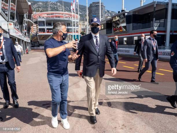 Prince Albert II of Monaco and former formula 1 driver Jean Alesi attend the 12th edition of the Historic Monaco Grand Prix on April 24, 2021 in...