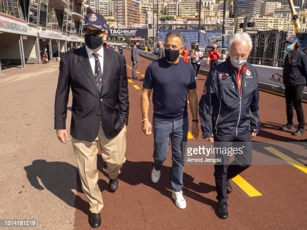 Prince Albert II of Monaco and former formula 1 driver Jean Alesi attends the 12th edition of the Historic Monaco Grand Prix on April 24, 2021 in...
