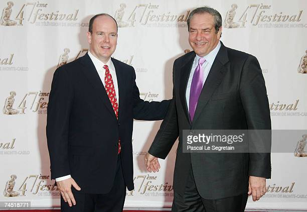 Prince Albert II of Monaco and HBO executive producer Dick Wolf attend the opening night of the 2007 Monte Carlo Television Festival held at Grimaldi...