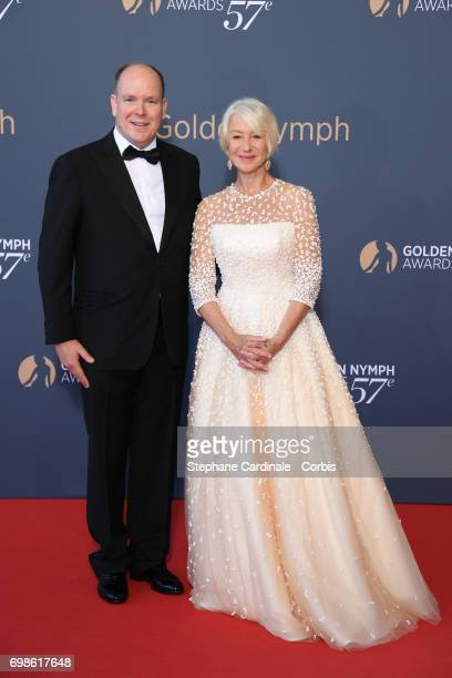Prince Albert II of Monaco and Helen Mirren attend the 57th Monte Carlo TV Festival Closing Ceremony on June 20 2017 in MonteCarlo Monaco