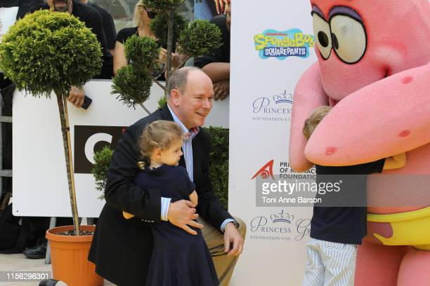 Prince Albert II of Monaco and his children Prince Jacques of Monaco and Princess Gabriella of Monaco arrive at the 20 year anniversary celebration...