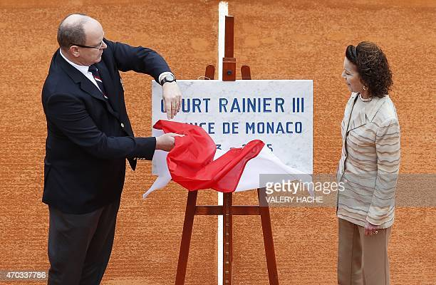 Prince Albert II of Monaco and his cousin ElisabethAnne de Massy inaugrate the Court Rainier III during the MonteCarlo ATP Masters Series Tournament...