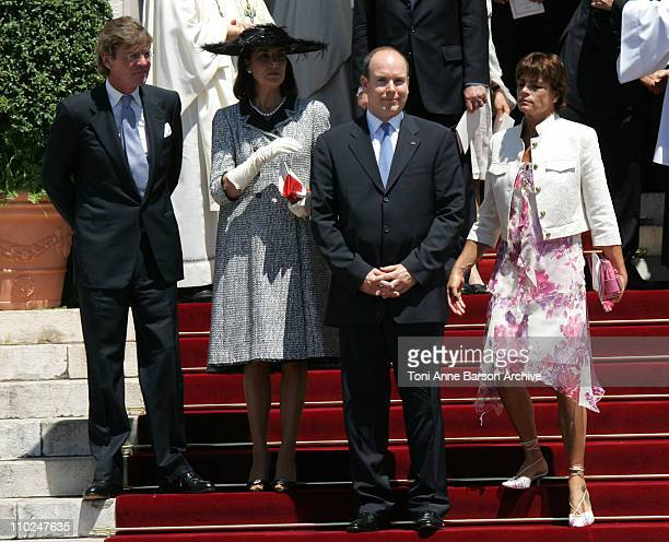 HSH Prince Albert II of Monaco and his family departure after the Mass Ernst August of Hanover Princess Caroline of Hanover and Princess Stephanie of...