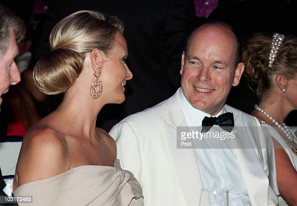Prince Albert II of Monaco and his fiancee Charlene Wittstock attend the 62nd Monaco Red Cross Ball at the Sporting Club Monte Carlo on July 30, 2010...