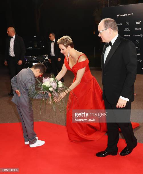 Prince Albert II of Monaco and his wife CharlenePrincess of Monaco are greeted at the red carpet at the 2017 Laureus World Sports Awards at the Salle...