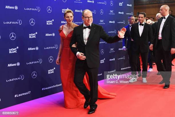 Prince Albert II of Monaco and his wife CharlenePrincess of Monaco attend the 2017 Laureus World Sports Awards at the Salle des EtoilesSporting Monte...