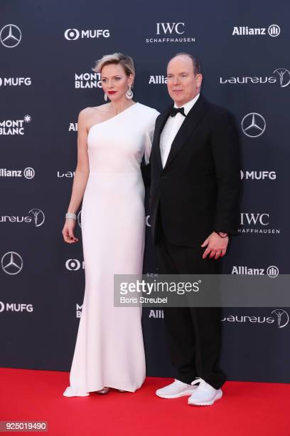 Prince Albert II of Monaco and his wife CharlenePrincess of Monaco attends the 2018 Laureus World Sports Awards at Salle des Etoiles Sporting...