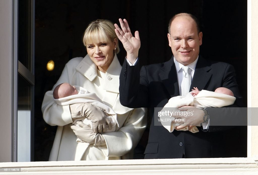 Prince Albert II of Monaco and his wife Princess Charlene appear on the balcony of the Monaco Palace with their newborn twins Prince Jacques and Princess Gabriella on January 7, 2015 in Monaco. This is the first public appearance of the royal twins. The date has been declared a public holiday in the Principality. Jacques, Hereditary Prince of Monaco, is now first in line to succeed his father, Prince Albert II.