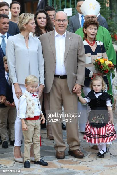 Prince Albert II of Monaco and his wife Princess Charlene arrive with their twins Prince Jacques and Princess Gabriella to take part in the...