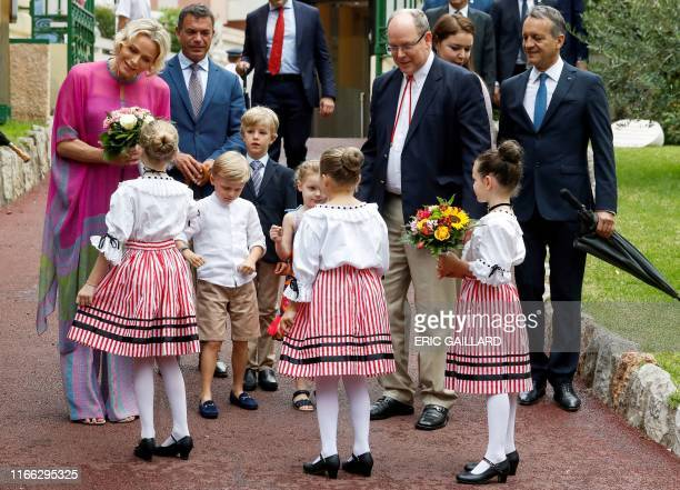 Prince Albert II of Monaco and his wife Princess Charlene arrive with their twin children Prince Jacques and Princess Gabriella to take part in the...
