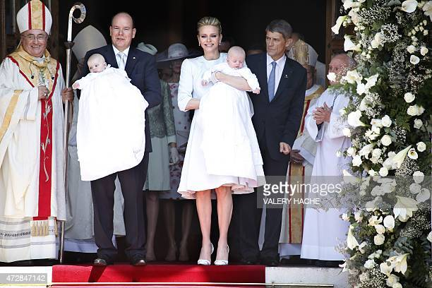 Prince Albert II of Monaco and his wife Princess Charlene leave the cathedral after the baptism of their twins Prince Jacques and Princess Gabriella...