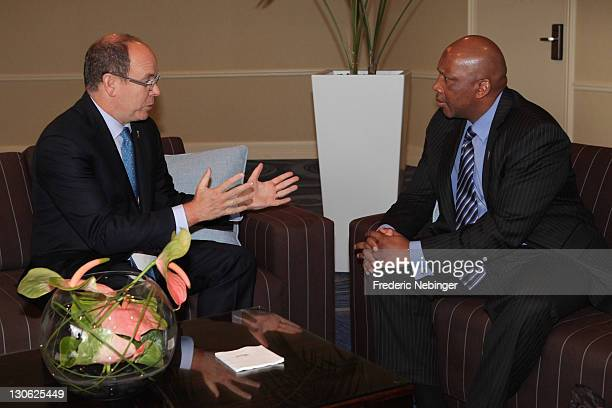 Prince Albert II of Monaco and H.M King Letsie III of Lesotho talk during Plenary Sessions at the Peace & Sport 5th International Forum at Hotel...