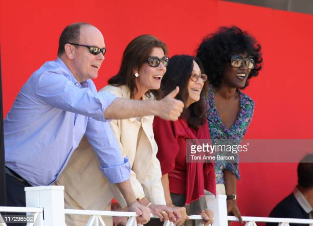 Prince Albert II of Monaco and HSH Princess Caroline of Hanover congratulate Charlotte Casiraghi for her performance at the Global Champion Tour 2011...